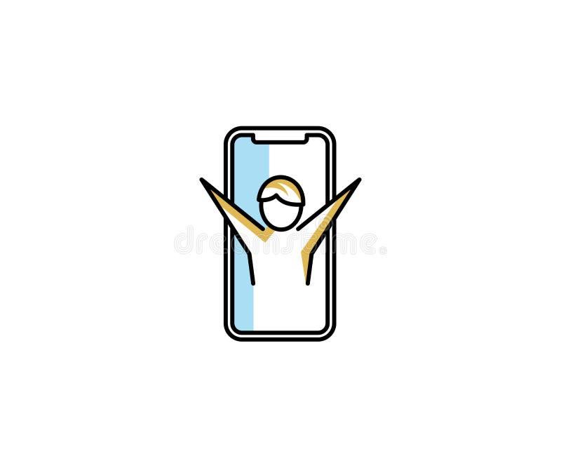 Smartphone e um homem com braços levantaram o molde do logotipo Conceito da comunicação no projeto do vetor do telefone ilustração stock
