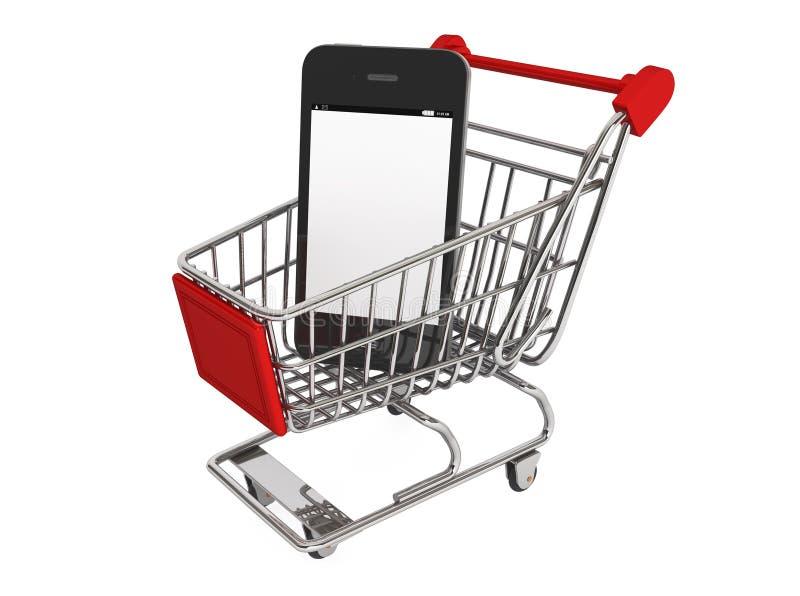 Smartphone e un carrello illustrazione di stock