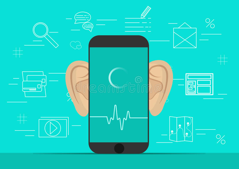 Smartphone with ears,recording audio on screen. Background with simple line icons.Concept of security and protection of vector illustration