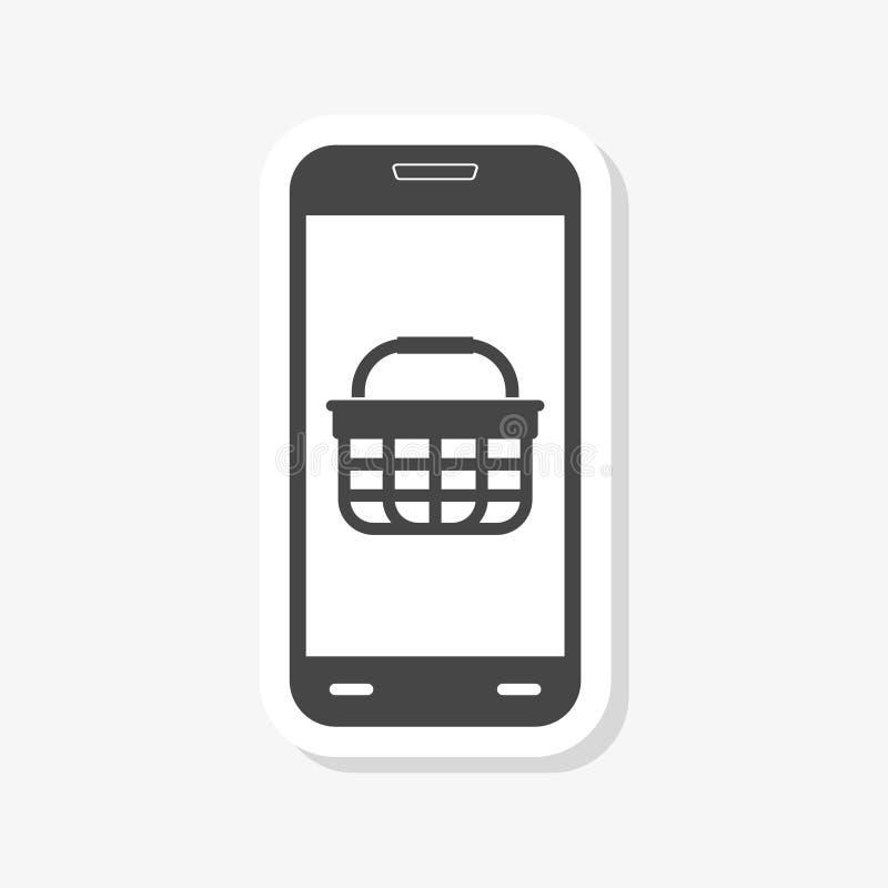 Smartphone ed autoadesivo del cestino della spesa illustrazione di stock
