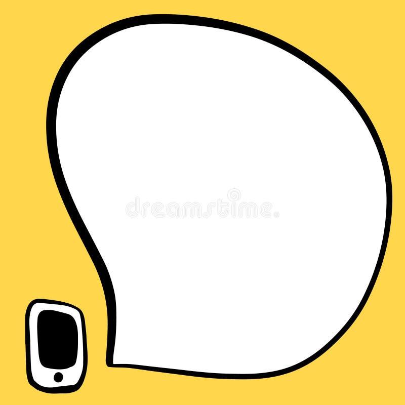 Smartphone ed illustrazione disegnata a mano del fumetto nello stile del fumetto illustrazione vettoriale