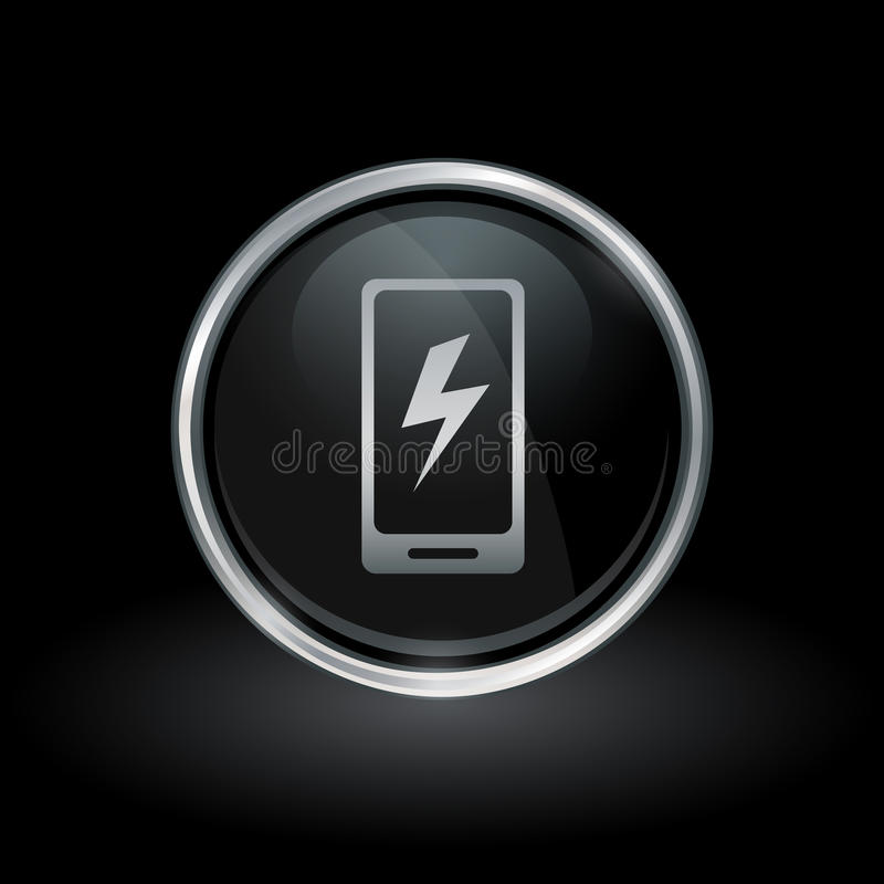 Smartphone Electric Charge Icon Inside Round Silver And Black E