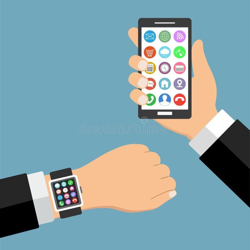 Smartphone elegante del reloj con los pulgares encima de usos de la mano y del teléfono móvil stock de ilustración