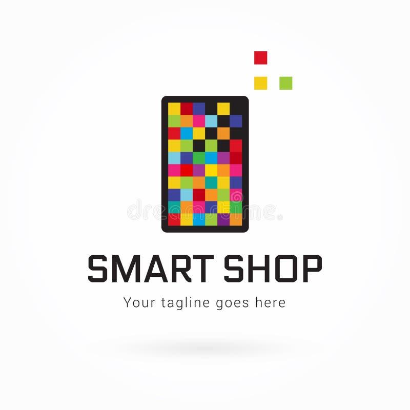 Smartphone eller mall för logo för minnestavlaPIXEL färgrik royaltyfri illustrationer