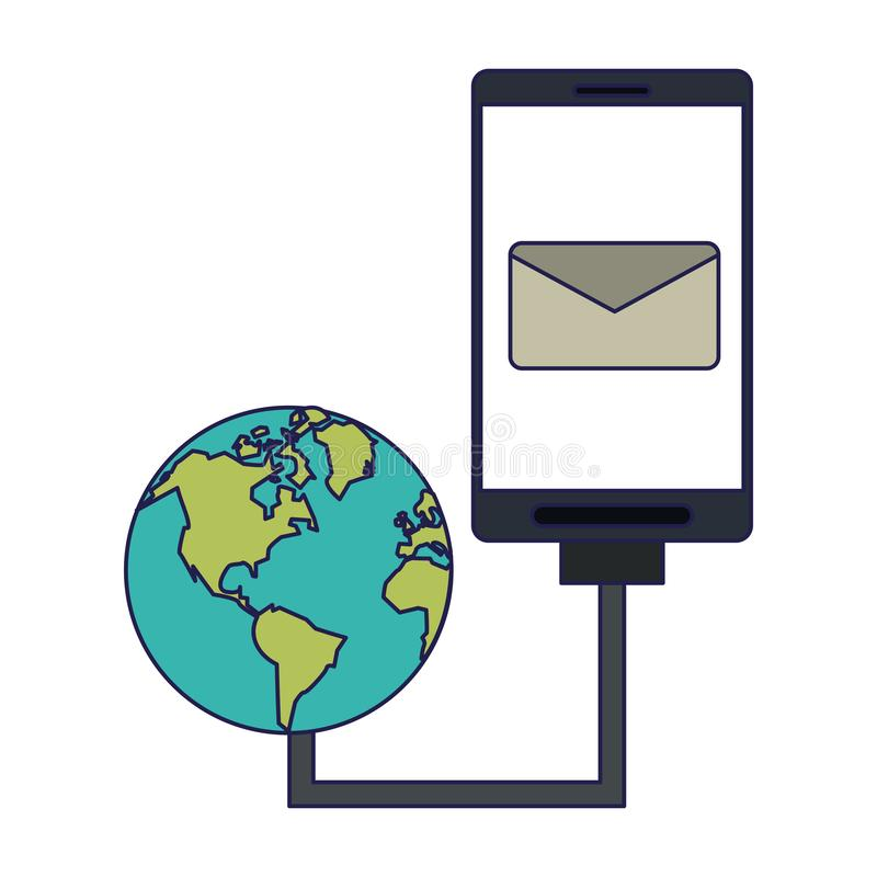 Smartphone email symbol and world network internet royalty free illustration