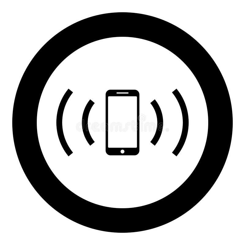 Smartphone emituje fale radiowe Ikona koncepcji fal dźwiękowych emitujących fale dźwiękowe w kolorze okrągłym, czarnym, płaski st ilustracji