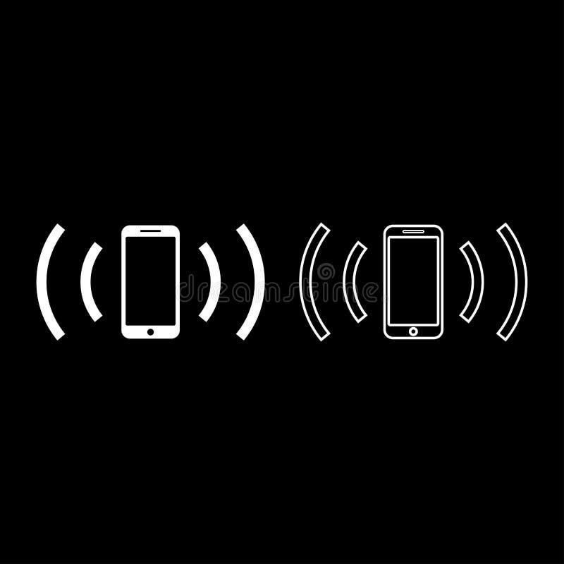 Smartphone emituje radiowych fal Rozs?dn? fal? Emituje fali poj?cia ikony konturu ustalonego bia?ego koloru mieszkania stylu wekt royalty ilustracja