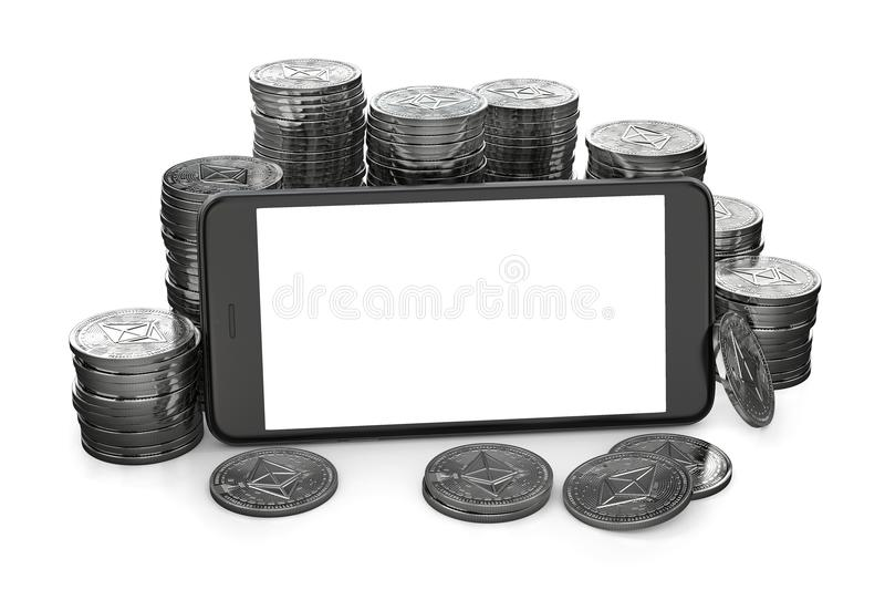Smartphone with empty copy space on-screen among piles of Ether isolated on white. vector illustration