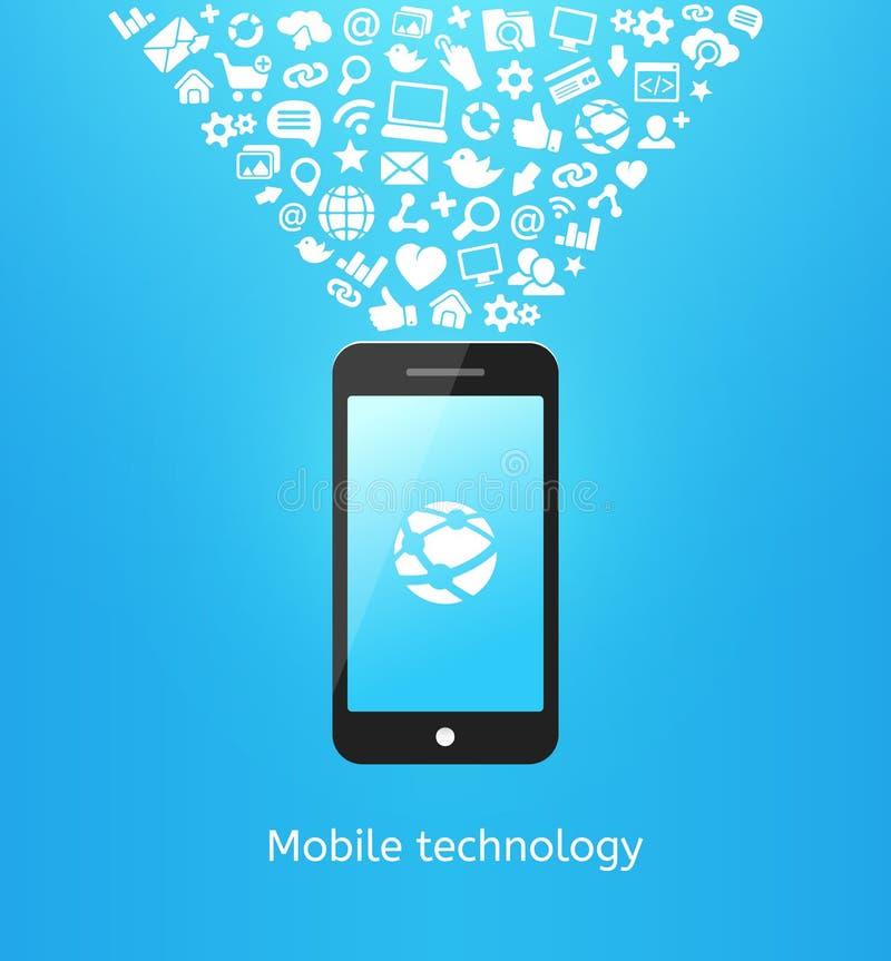 Smartphone en azul ilustración del vector