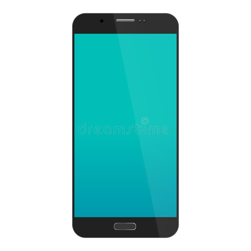 Smartphone en color del negro del estilo del iphone con la pantalla táctil azul aislada en el fondo blanco Ilustración del vector stock de ilustración