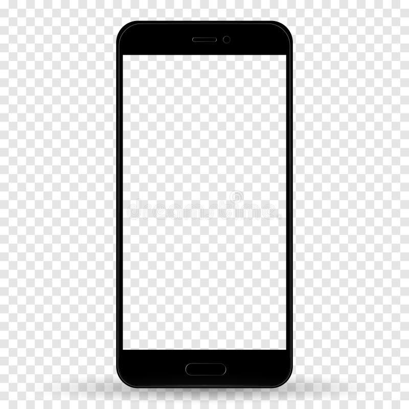 Smartphone en color negro del estilo del iphone con la pantalla táctil en blanco aislada en fondo transparente Vector com?n ilustración del vector