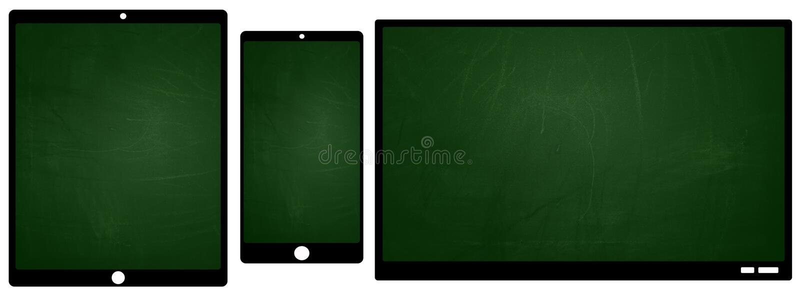 Smartphone en de tabletpictogrammen van TV met het groene bordscherm stock illustratie