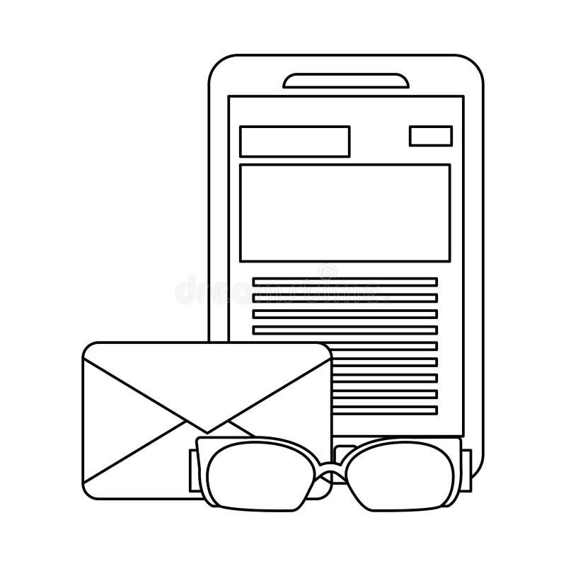 Smartphone en e-mail in zwart-wit vector illustratie