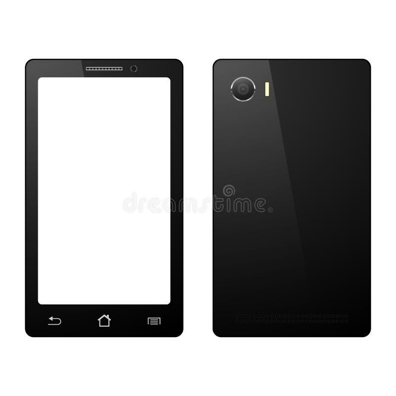 Smartphone en el fondo blanco, teléfono móvil aislado con la pantalla táctil stock de ilustración