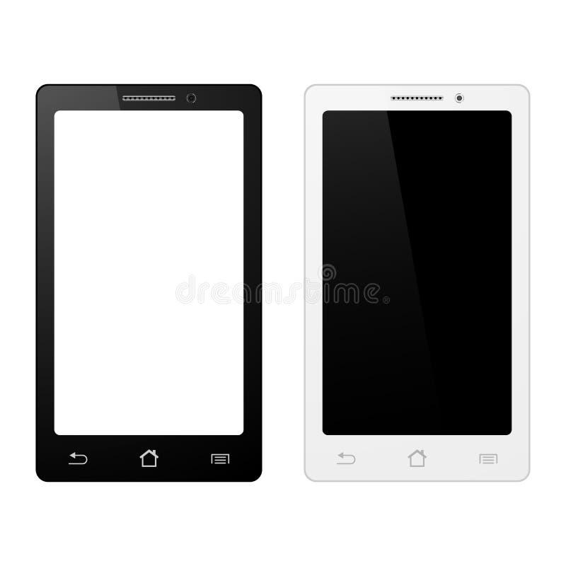 Smartphone en el fondo blanco, teléfono móvil aislado con la pantalla táctil libre illustration