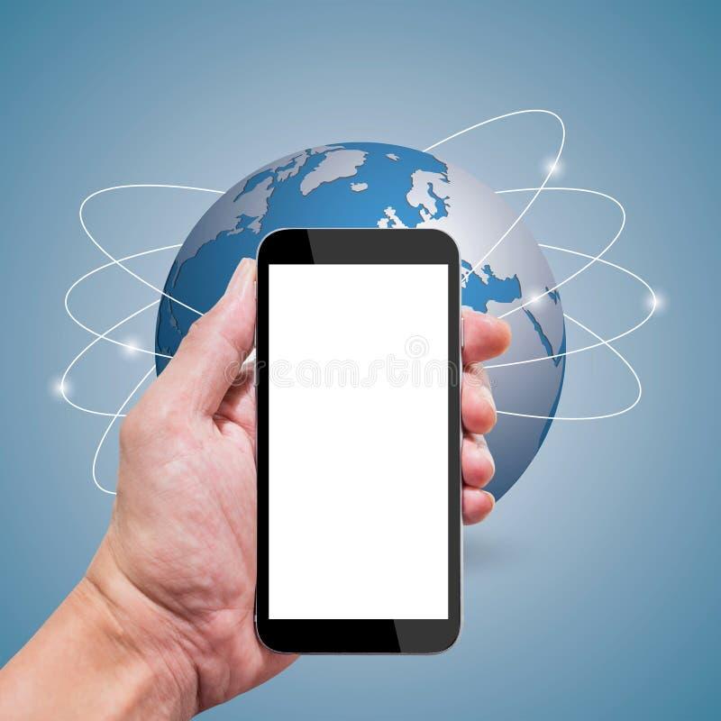 Smartphone en globale mededeling stock fotografie