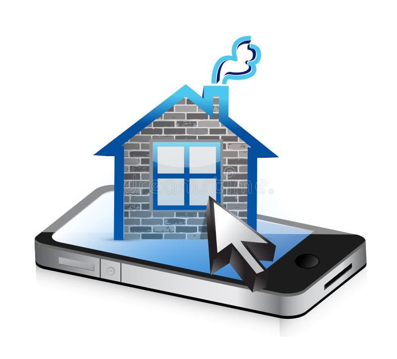 Smartphone en huispictogram vector illustratie