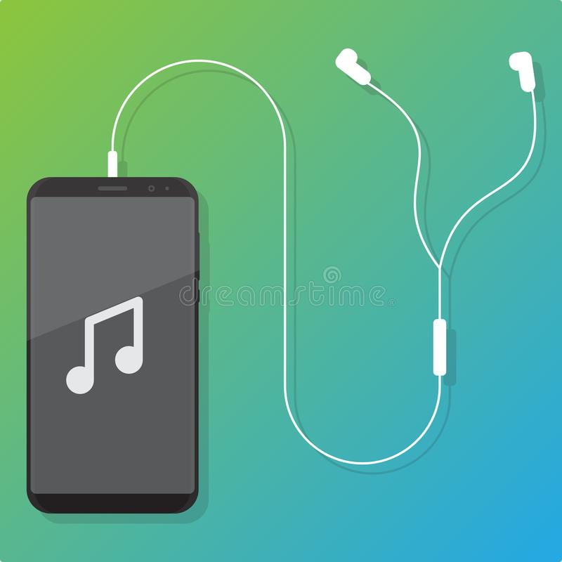 Smartphone en oortelefoon vlakke ontwerpvector royalty-vrije illustratie