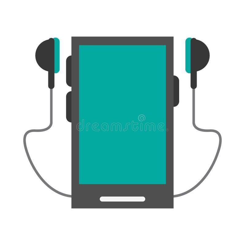 Smartphone en oortelefoons stock illustratie