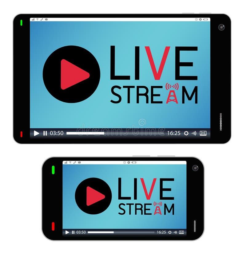 Smartphone en tablet met levende stroom op het scherm stock illustratie