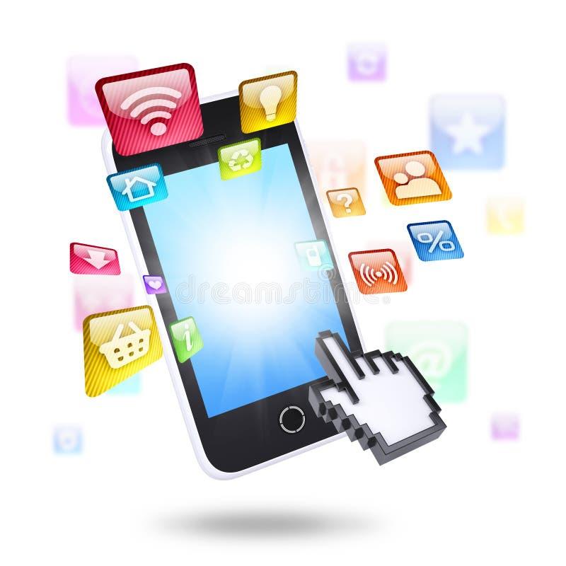 Smartphone en toepassingspictogrammen royalty-vrije illustratie