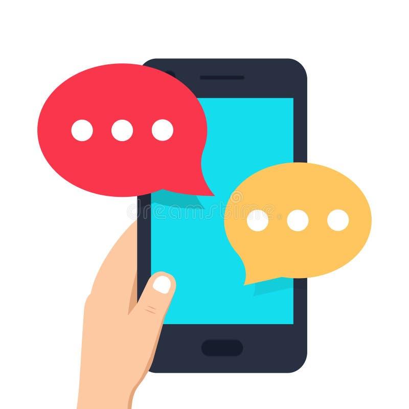 Smartphone enegrece, conversando bolhas do molde do app dos sms Mão humana que guarda o telefone celular com notificação na tela ilustração stock
