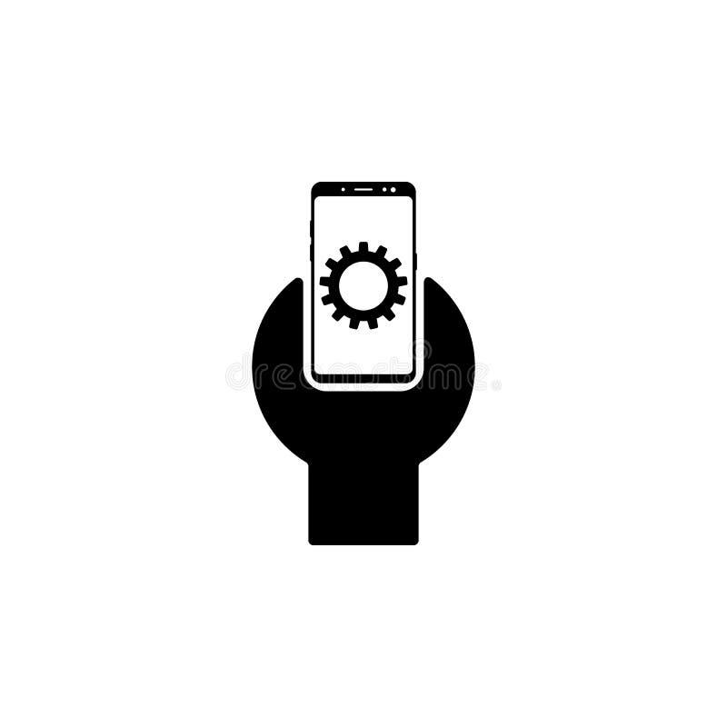 smartphone, engranaje, icono del vector de la llave para las páginas web y diseño plano minimalistic móvil libre illustration