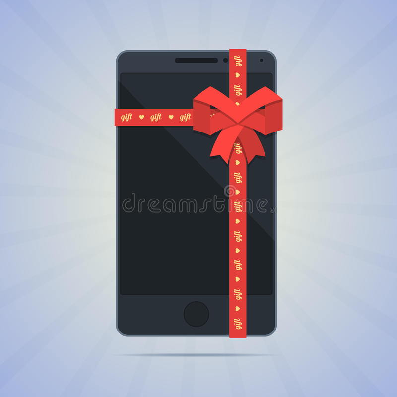 Smartphone envuelto con el regalo rojo de la cinta y del texto libre illustration