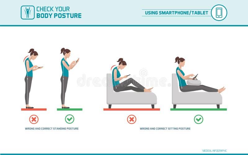 Smartphone ergonomi vektor illustrationer