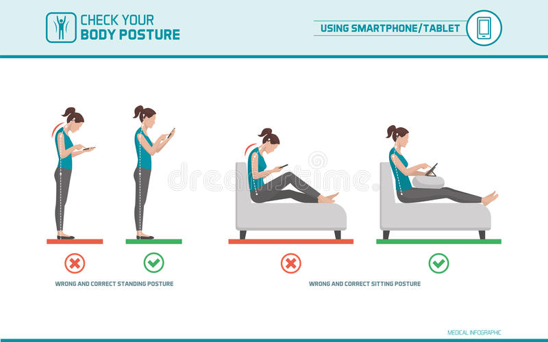 Smartphone ergonomics. Smartphone and tablet ergonomics: how to use mobile devices correctly when standing and sitting, posture correction vector illustration