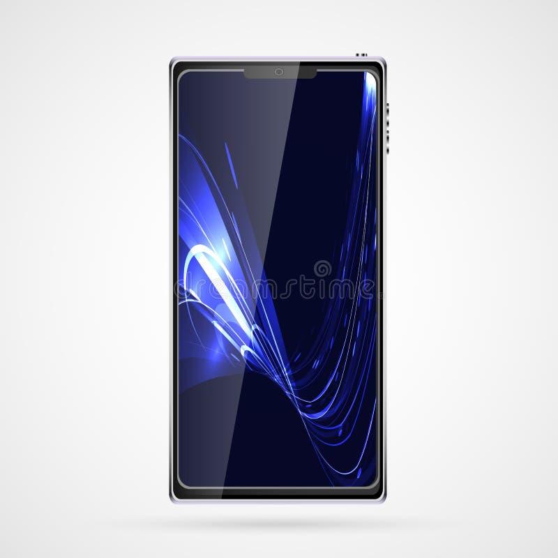 Smartphone esperto preto do telefone celular com tela táctil, dispositivo móvel realístico moderno com o screensaver mágico abstr ilustração royalty free