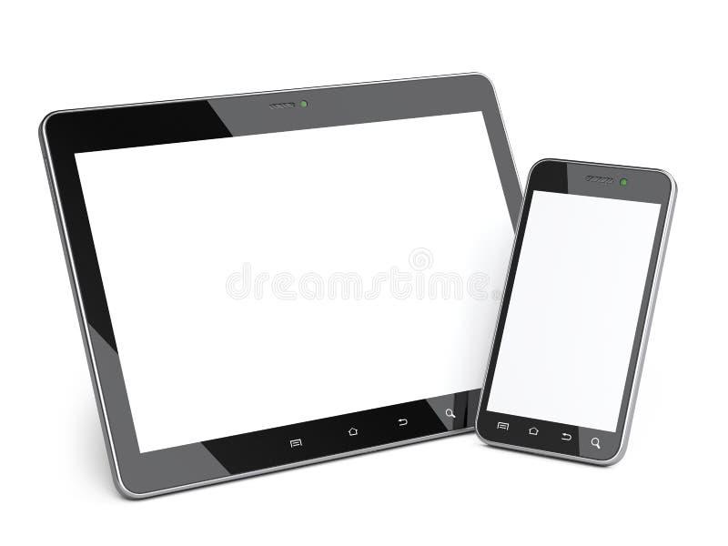 Smartphone et comprimé noirs avec l'écran vide illustration stock