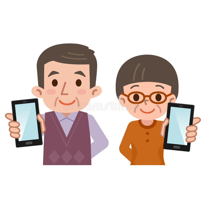 Smartphone et hommes supérieurs et femmes illustration stock