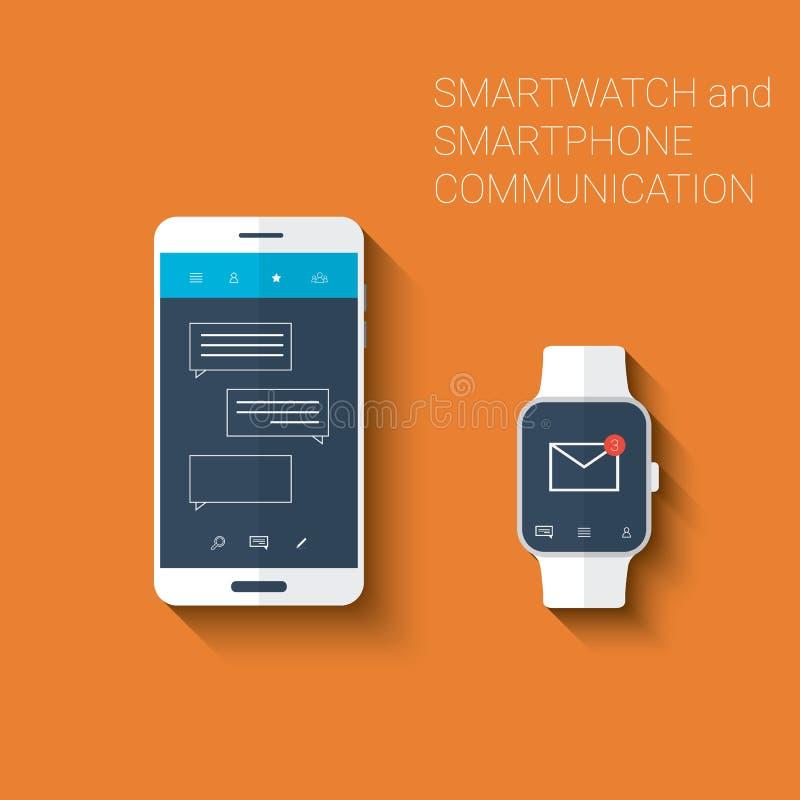 Smartphone et kit d'icônes d'interface utilisateurs de messages de smartwatch Concept portable de technologie dans la conception  illustration libre de droits