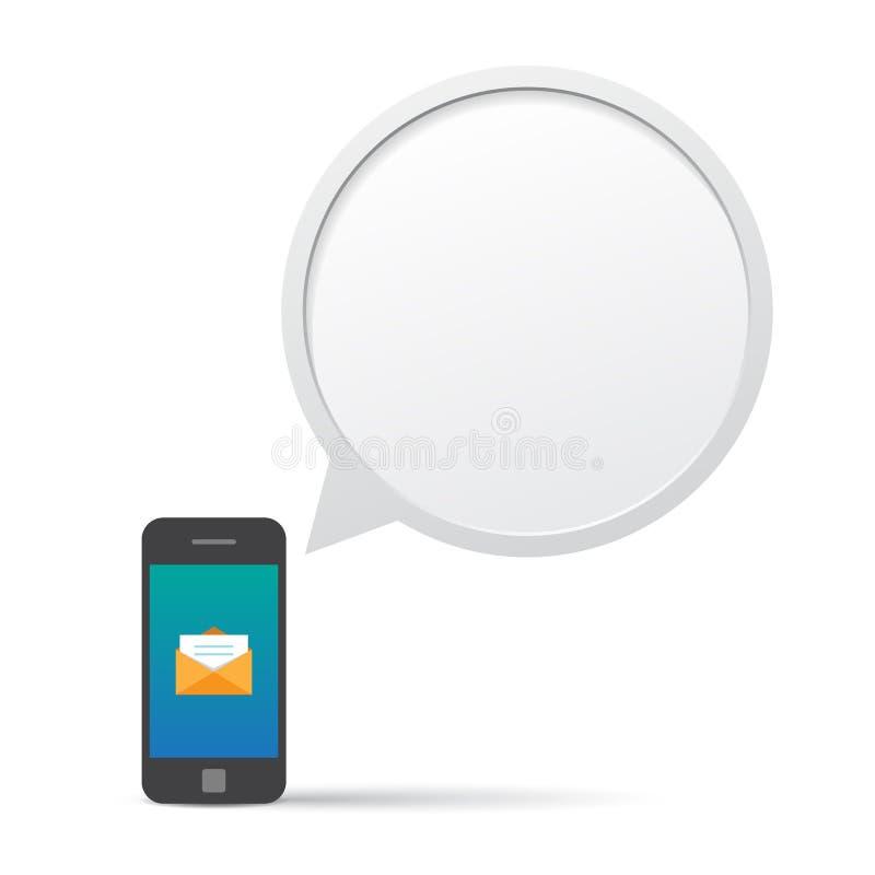 Smartphone et message d'entretien de bulle. illustration stock