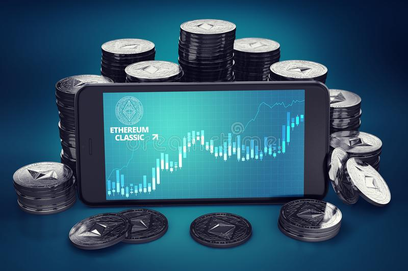 Smartphone with Ethereum Classic ETC growth chart on-screen among piles of Ether coins. vector illustration