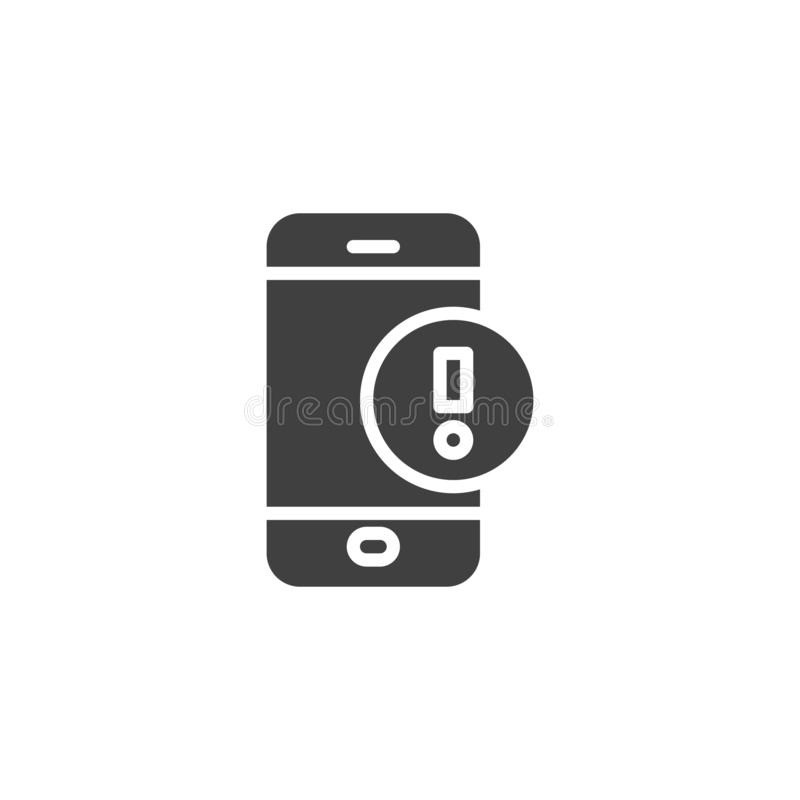 Smartphone with exclamation point vector icon. Filled flat sign for mobile concept and web design. Mobile phone warning alert glyph icon. Symbol, logo vector illustration