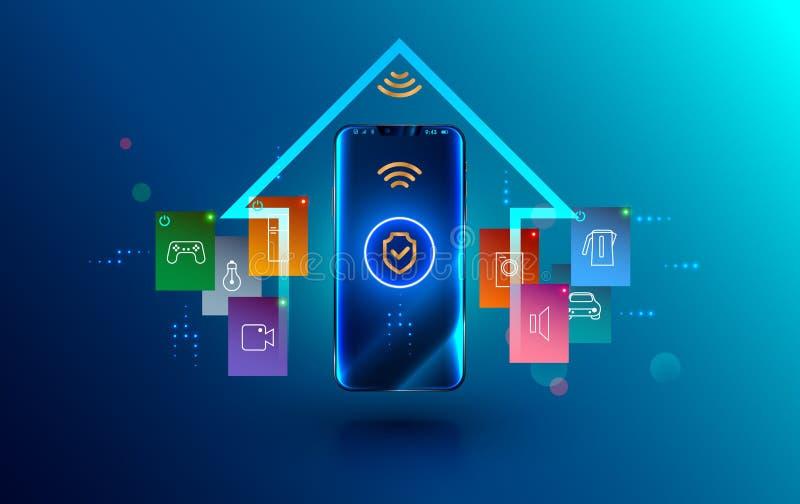 Smartphone förband med det smarta hemmet via skyddad trådlös anslutning Sköldsymbolsäkerhet av iot eller internet av saker på stock illustrationer