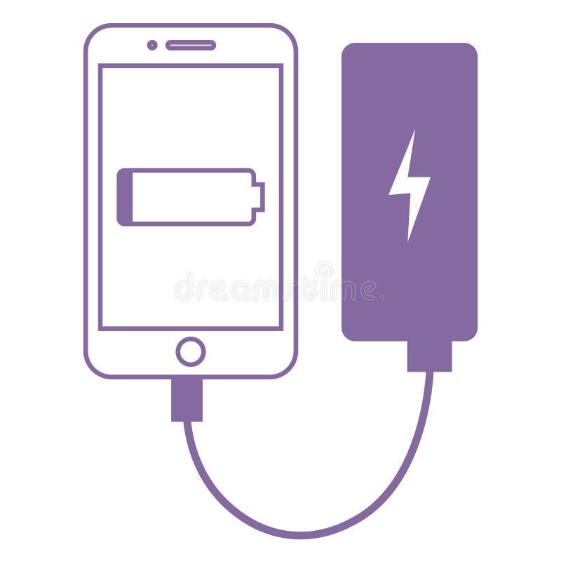 Smartphone förband till maktbanken Plan illustration för vektor vektor illustrationer