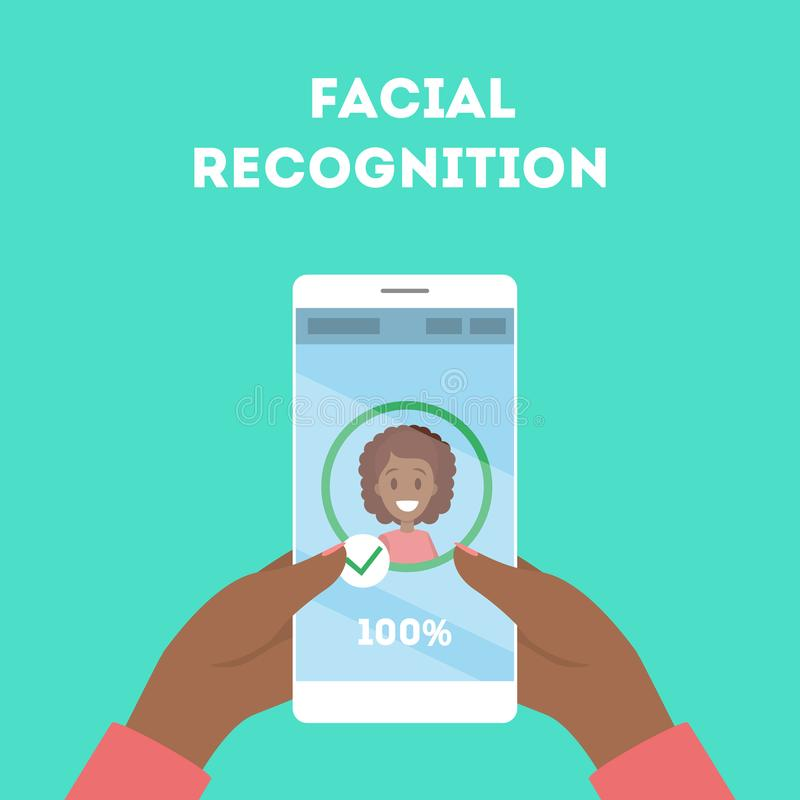 Smartphone with a face recognition stock illustration