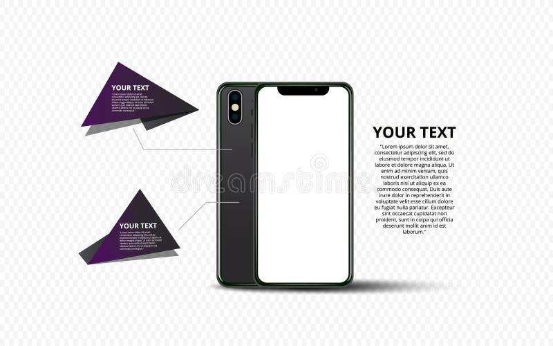 Smartphone-Fahne Flache Illustration Minimalistic-Vektors des Handys Modell generischer Smartphone lizenzfreie abbildung