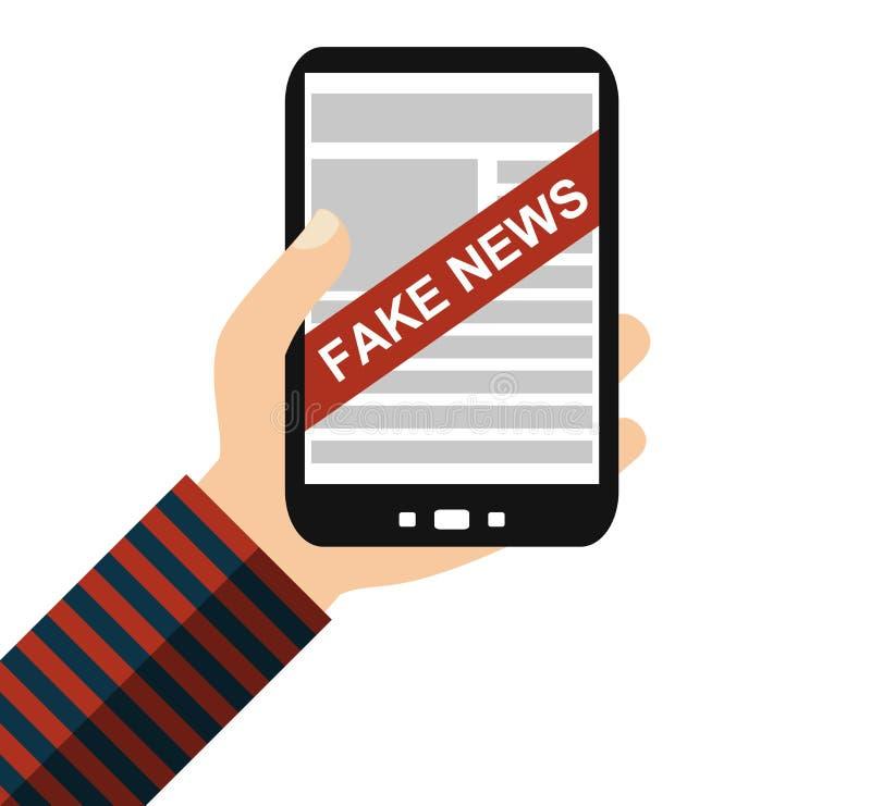 Smartphone: Fake News - Flat Design. Hand holding Smartphone: Fake News - Flat Design stock illustration