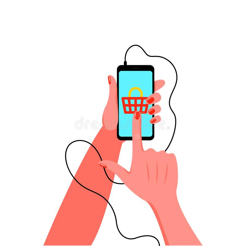 Smartphone in female hand with manicure. Vector illustration. In flat style stock illustration
