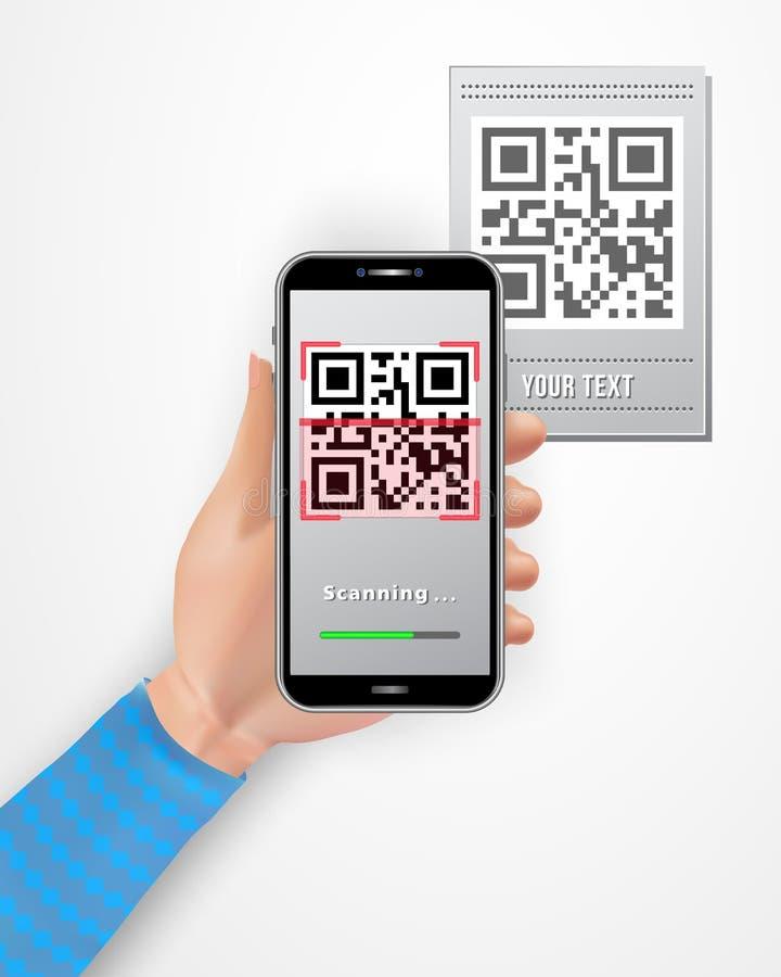 Smartphone femminile della tenuta della mano con il app mobile del lettore di codice di QR isolato su fondo bianco Concetto Cashl royalty illustrazione gratis