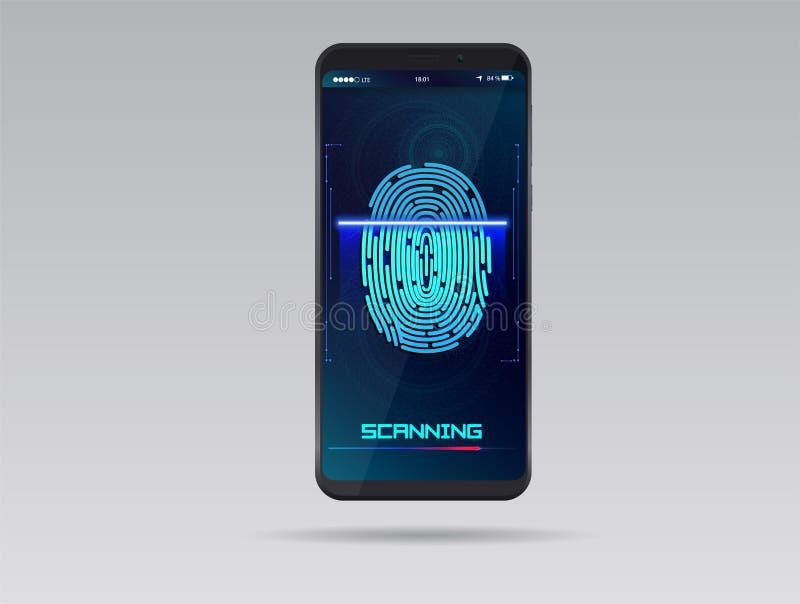 Smartphone with finger scan. HUD interface. Stock vector illustration. Eps10 stock illustration