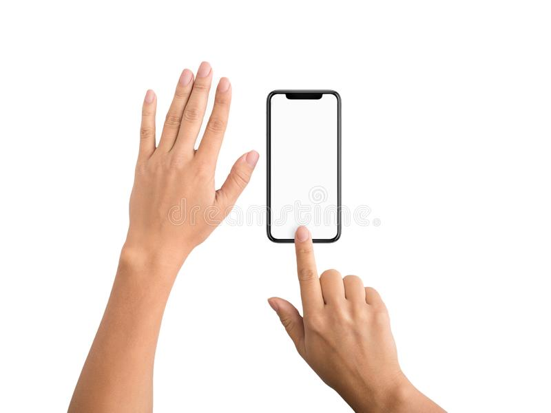 Smartphone finger scan security and privacy protection stock image