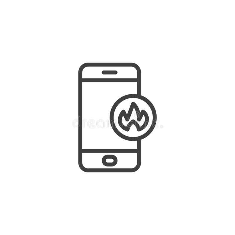 Smartphone with fire flame line icon stock illustration