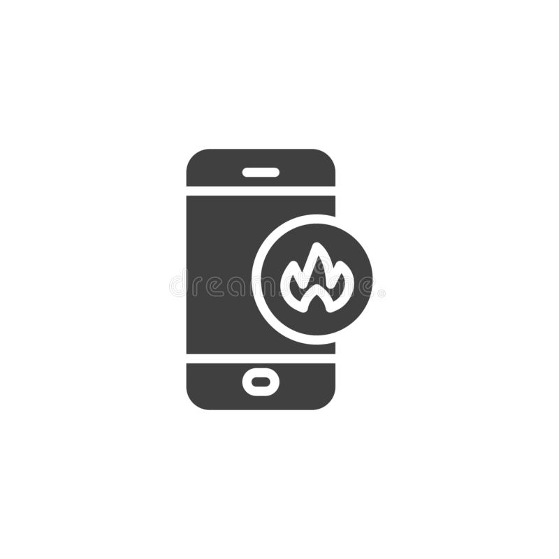 Smartphone with fire flame vector icon. Filled flat sign for mobile concept and web design. Mobile phone repair service glyph icon. Symbol, logo illustration vector illustration