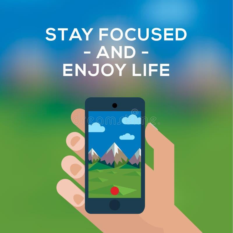 Smartphone font la photo de la montagne illustration libre de droits