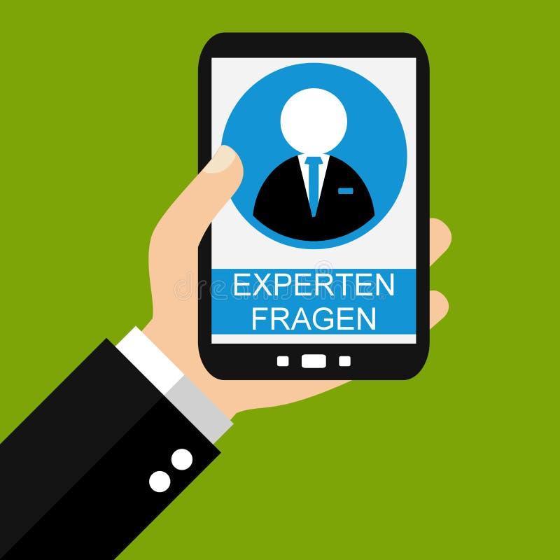 Smartphone: Fråga experter tysk - plan design royaltyfri illustrationer